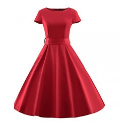 Women Plus Size Slim swing dress, high waist solid color