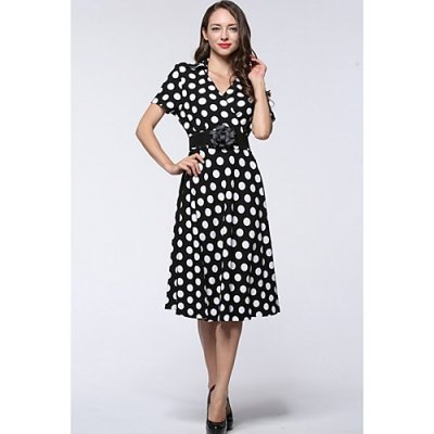 Women put out cotton dress, Polka Dot waist V-neck