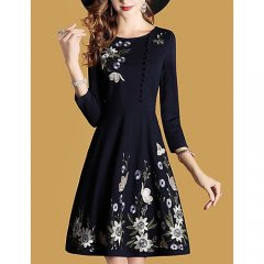 Plus Size Women chic tight dress, solid color, embroidery